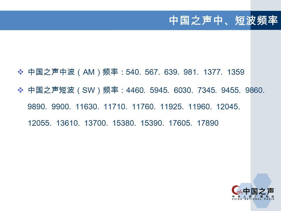  中国之声中波( AM )频率: 540. 567. 639. 981. 1377. 1359  中国之声短波( SW )频率: 4460.