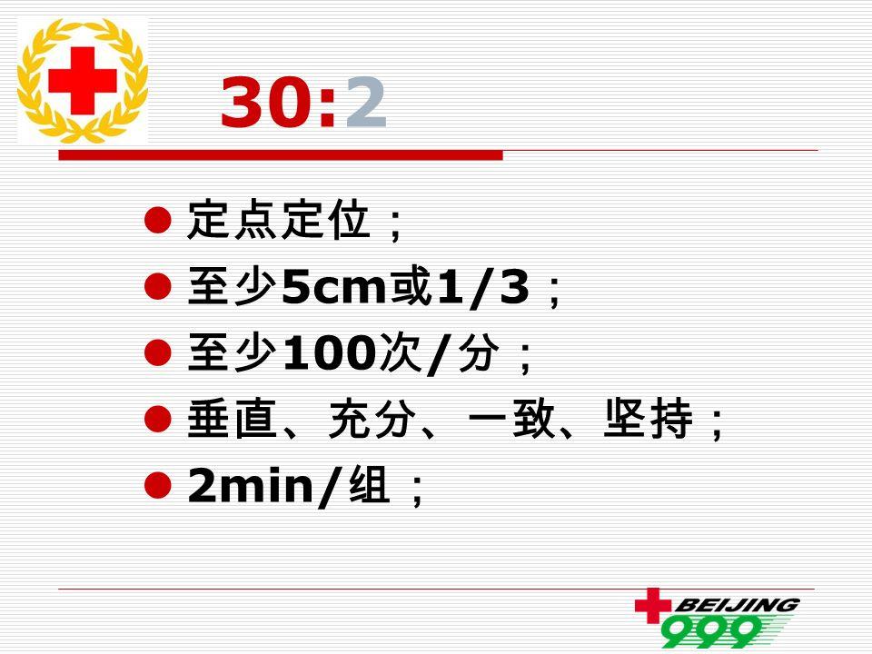 30:2 定点定位; 至少 5cm 或 1/3 ; 至少 100 次 / 分; 垂直、充分、一致、坚持; 2min/ 组;