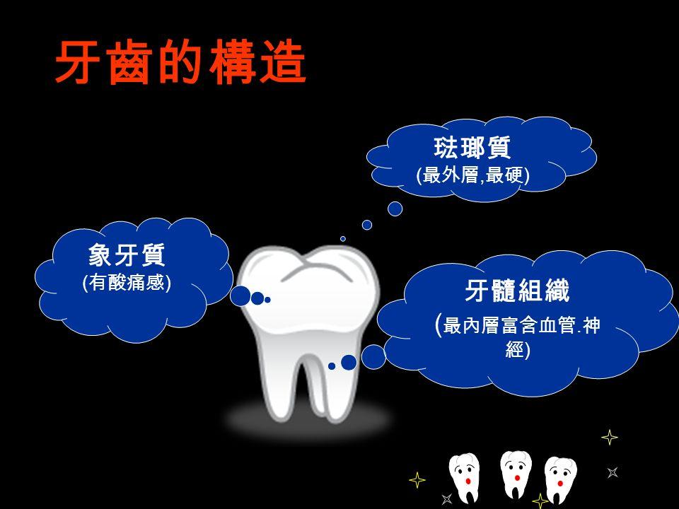 琺瑯質 ( 最外層, 最硬 ) 象牙質 ( 有酸痛感 ) 牙髓組織 ( 最內層富含血管. 神 經 ) 牙齒的構造