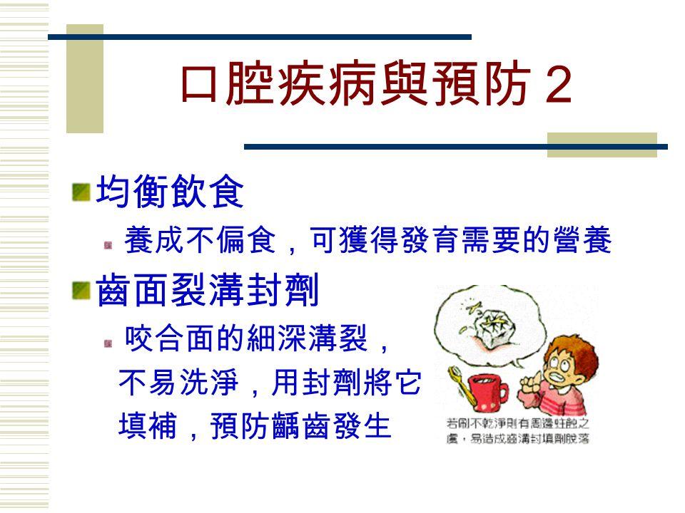 口腔疾病與預防2 均衡飲食 養成不偏食,可獲得發育需要的營養 齒面裂溝封劑 咬合面的細深溝裂, 不易洗淨,用封劑將它 填補,預防齲齒發生