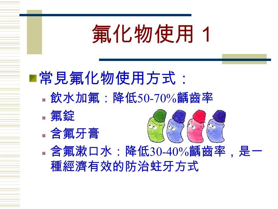 氟化物使用1 常見氟化物使用方式: 飲水加氟:降低 50-70% 齲齒率 氟錠 含氟牙膏 含氟漱口水:降低 30-40% 齲齒率,是一 種經濟有效的防治蛀牙方式