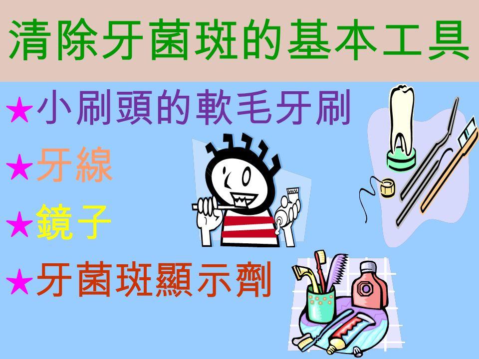 清除牙菌斑的基本工具 ★ 小刷頭的軟毛牙刷 ★ 牙線 ★ 鏡子 ★ 牙菌斑顯示劑