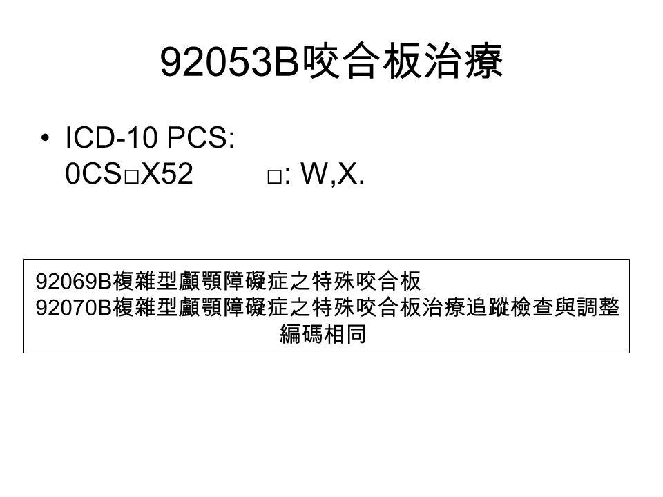 92053B 咬合板治療 ICD-10 PCS: 0CS□X52 □: W,X. 92069B 複雜型顱顎障礙症之特殊咬合板 92070B 複雜型顱顎障礙症之特殊咬合板治療追蹤檢查與調整 編碼相同