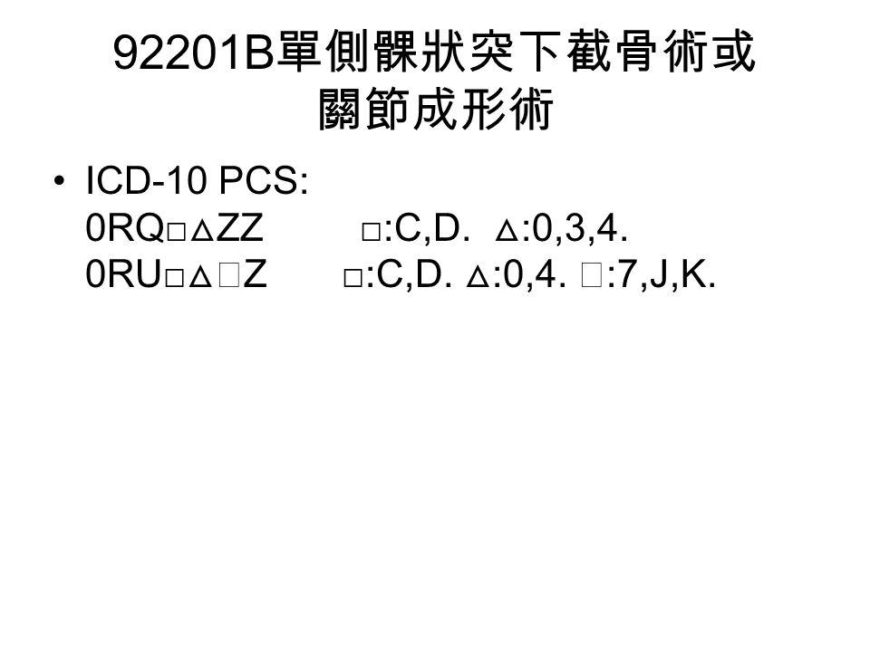 92201B 單側髁狀突下截骨術或 關節成形術 ICD-10 PCS: 0RQ□ △ ZZ □:C,D. △ :0,3,4. 0RU□ △◇ Z □:C,D. △ :0,4. ◇ :7,J,K.