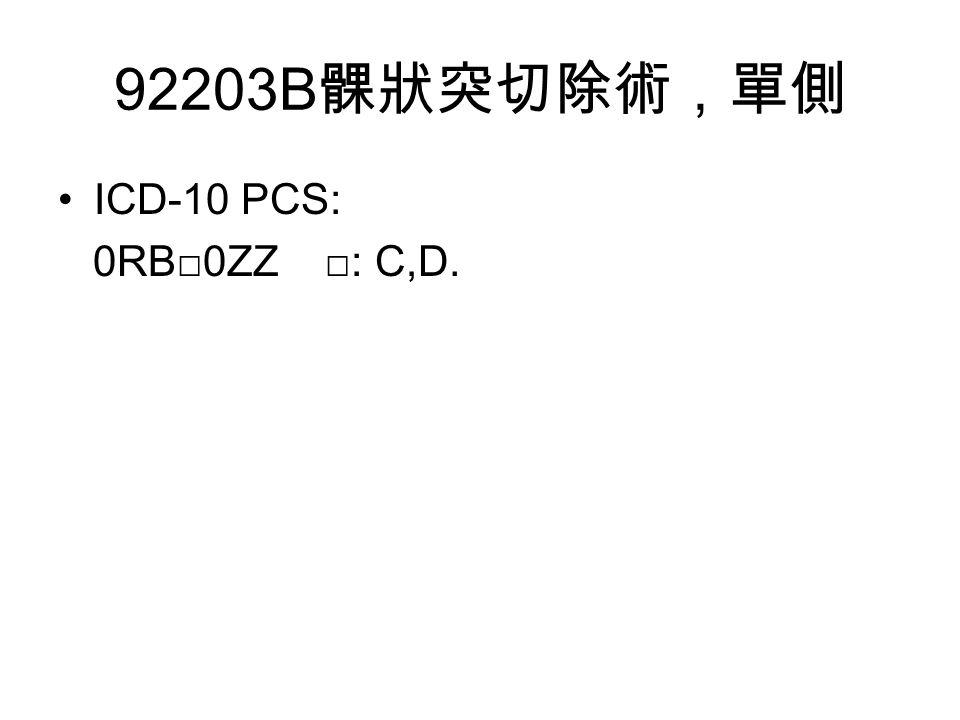 92203B 髁狀突切除術,單側 ICD-10 PCS: 0RB□0ZZ □: C,D.