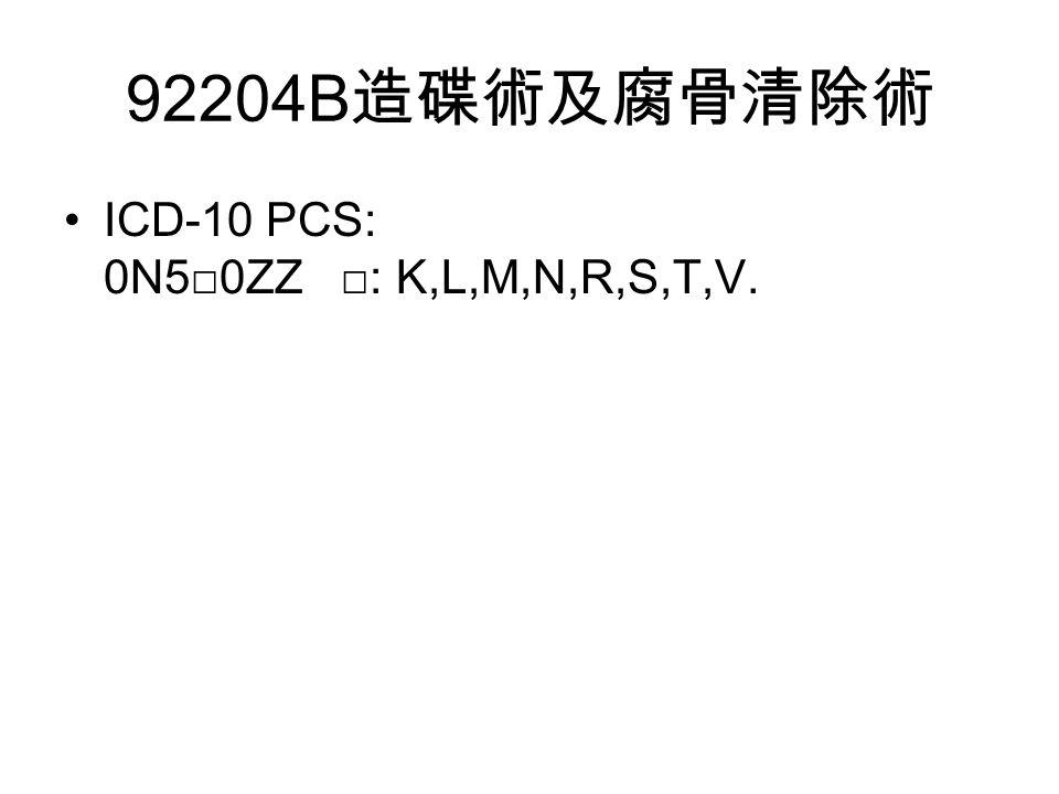 92204B 造碟術及腐骨清除術 ICD-10 PCS: 0N5□0ZZ □: K,L,M,N,R,S,T,V.