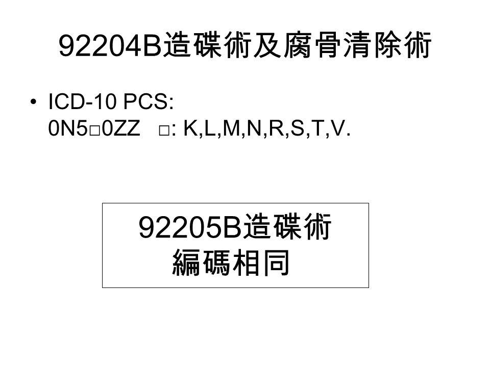92204B 造碟術及腐骨清除術 ICD-10 PCS: 0N5□0ZZ □: K,L,M,N,R,S,T,V. 92205B 造碟術 編碼相同