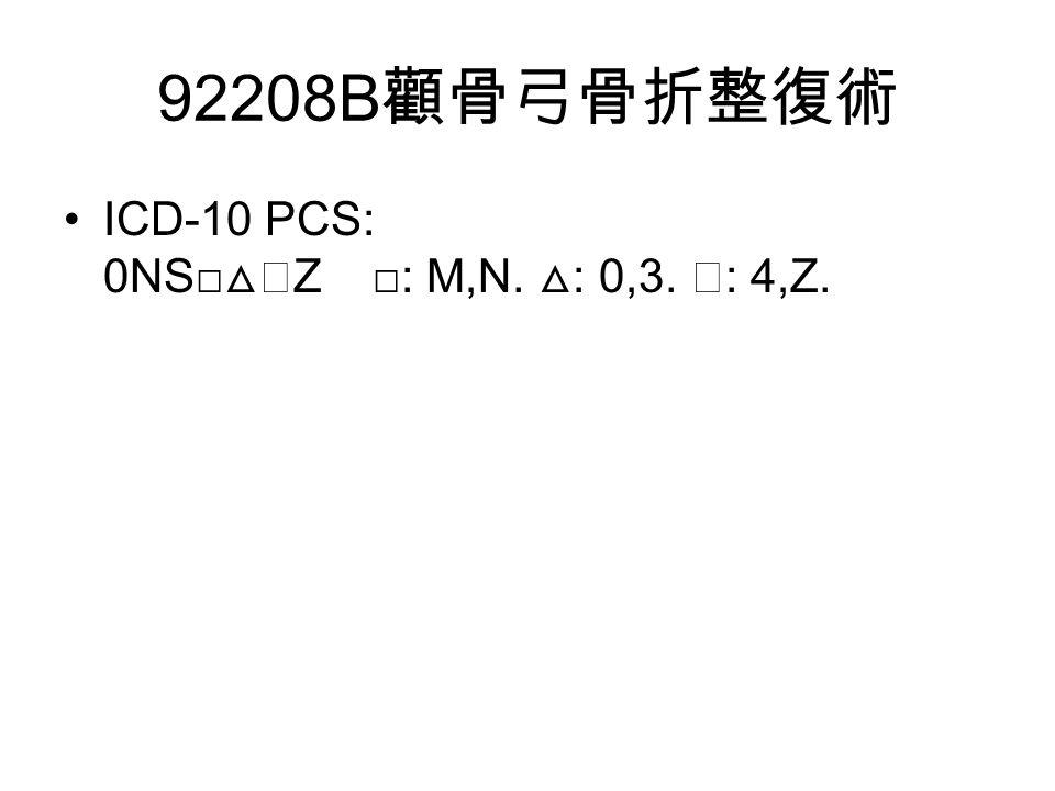 92208B 顴骨弓骨折整復術 ICD-10 PCS: 0NS□ △◇ Z □: M,N. △ : 0,3. ◇ : 4,Z.