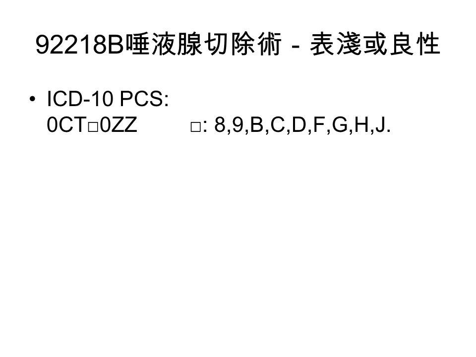 92218B 唾液腺切除術-表淺或良性 ICD-10 PCS: 0CT□0ZZ □: 8,9,B,C,D,F,G,H,J.