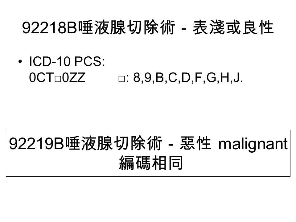 92218B 唾液腺切除術-表淺或良性 ICD-10 PCS: 0CT□0ZZ □: 8,9,B,C,D,F,G,H,J. 92219B 唾液腺切除術-惡性 malignant 編碼相同