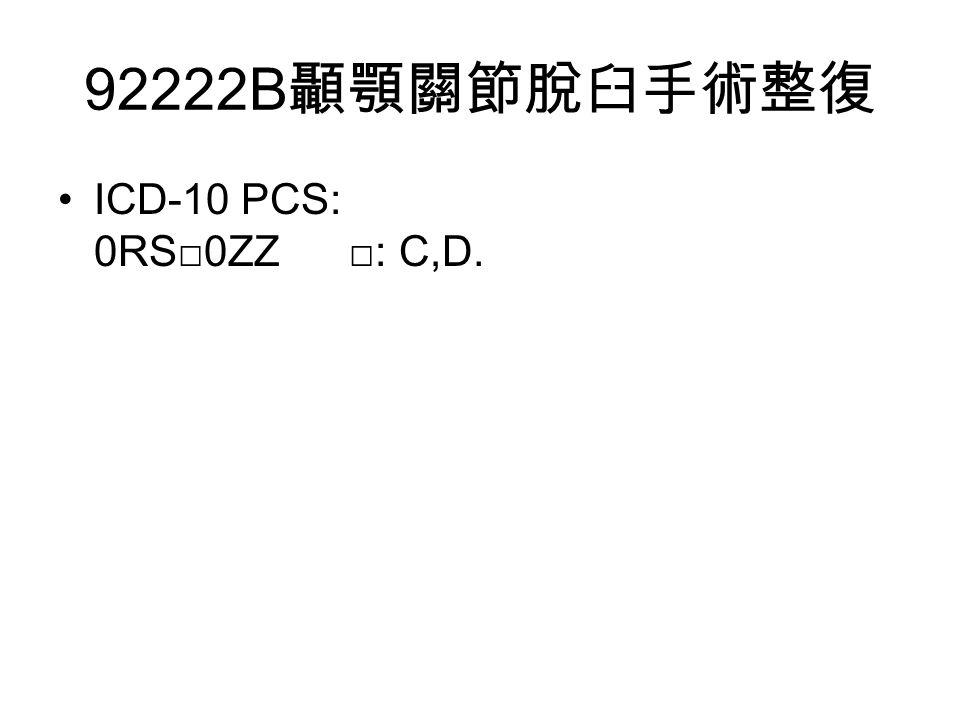 92222B 顳顎關節脫臼手術整復 ICD-10 PCS: 0RS□0ZZ □: C,D.