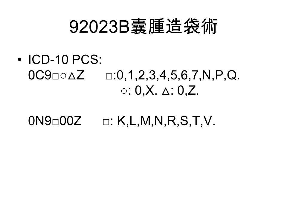 92023B 囊腫造袋術 ICD-10 PCS: 0C9□○ △ Z □:0,1,2,3,4,5,6,7,N,P,Q.