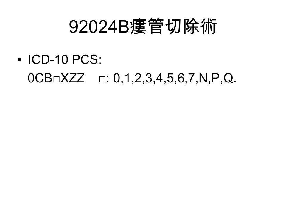 92024B 瘻管切除術 ICD-10 PCS: 0CB□XZZ □: 0,1,2,3,4,5,6,7,N,P,Q.