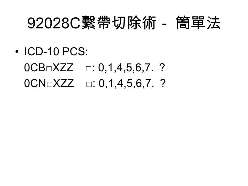 92028C 繫帶切除術- 簡單法 ICD-10 PCS: 0CB□XZZ □: 0,1,4,5,6,7. 0CN□XZZ □: 0,1,4,5,6,7.