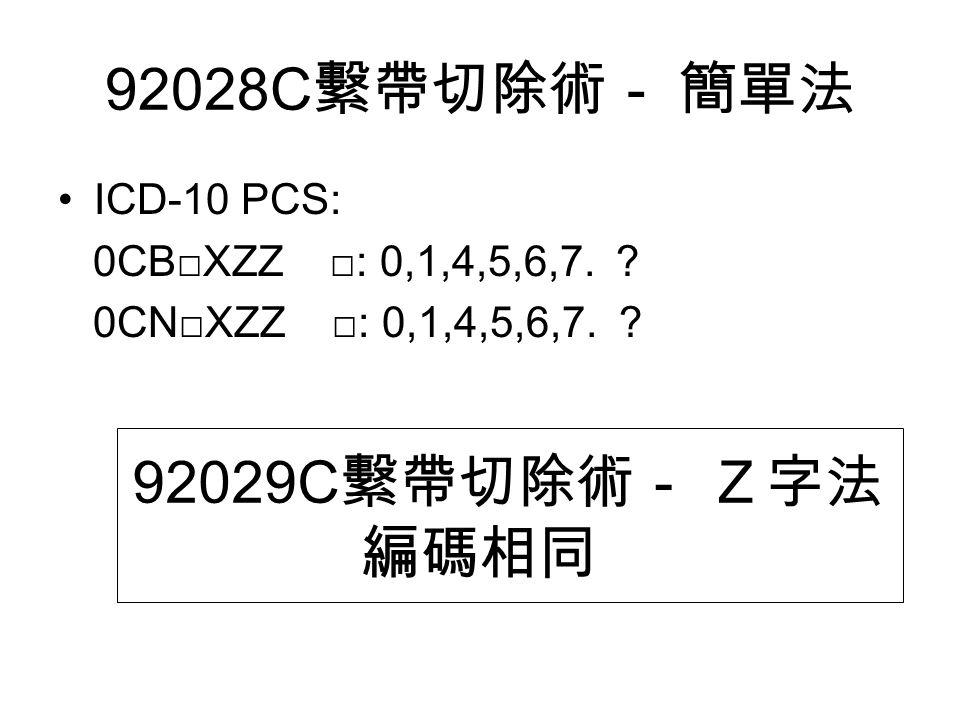 92028C 繫帶切除術- 簡單法 ICD-10 PCS: 0CB□XZZ □: 0,1,4,5,6,7.