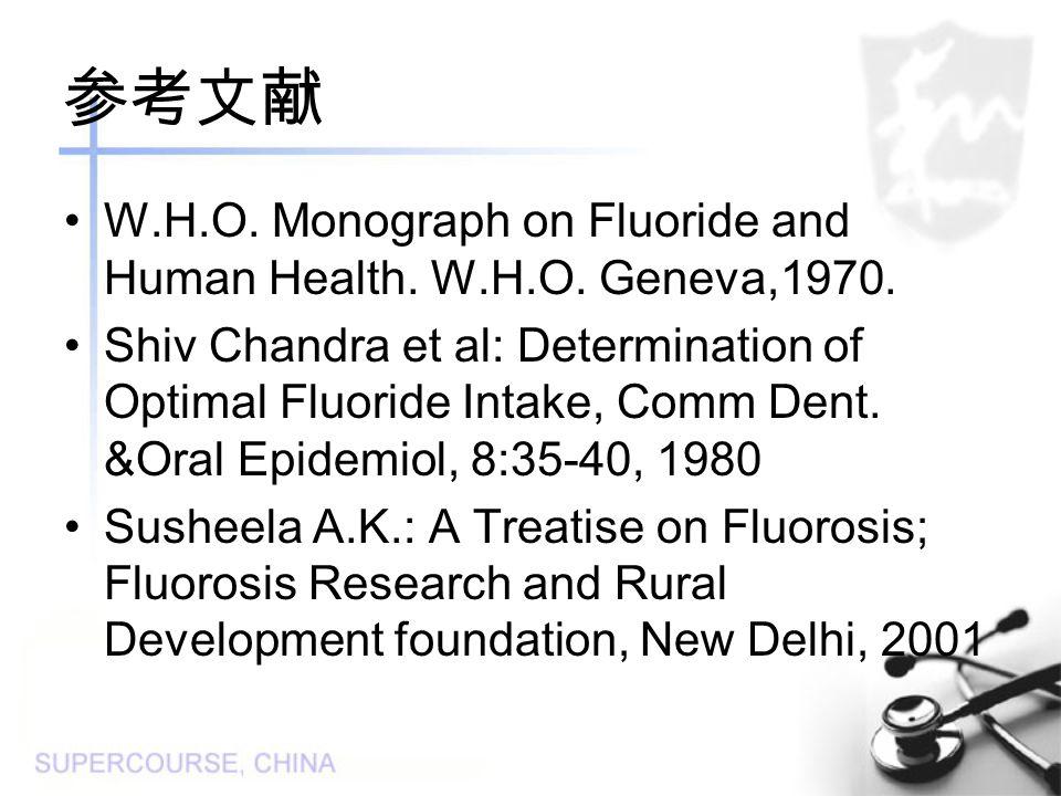 参考文献 W.H.O. Monograph on Fluoride and Human Health.