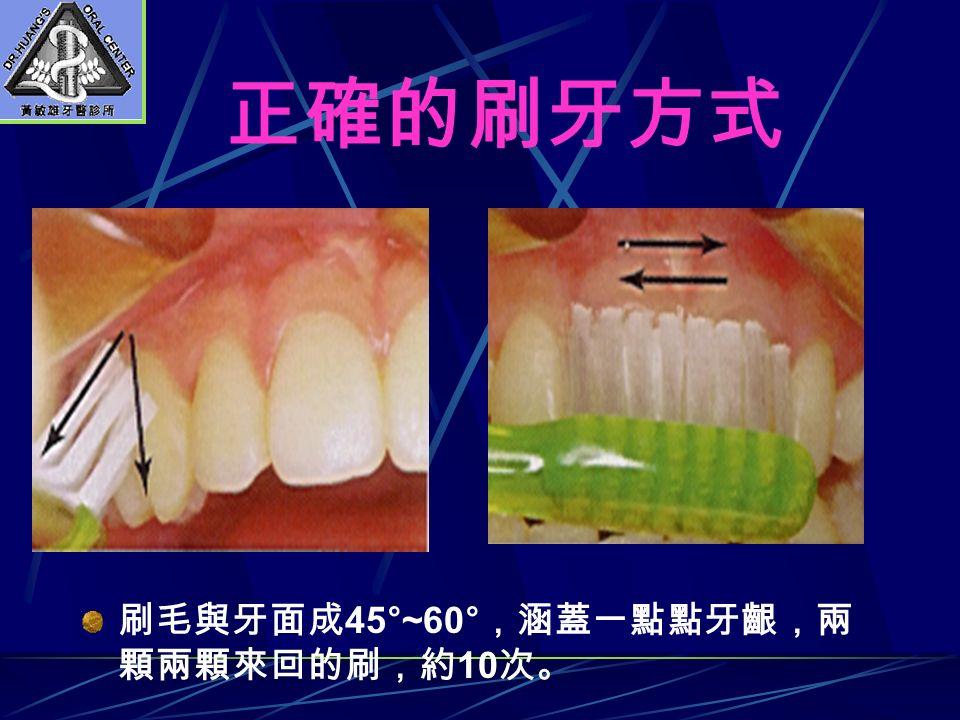正確的刷牙方式 刷毛與牙面成 45°~60° ,涵蓋一點點牙齦,兩 顆兩顆來回的刷,約 10 次。