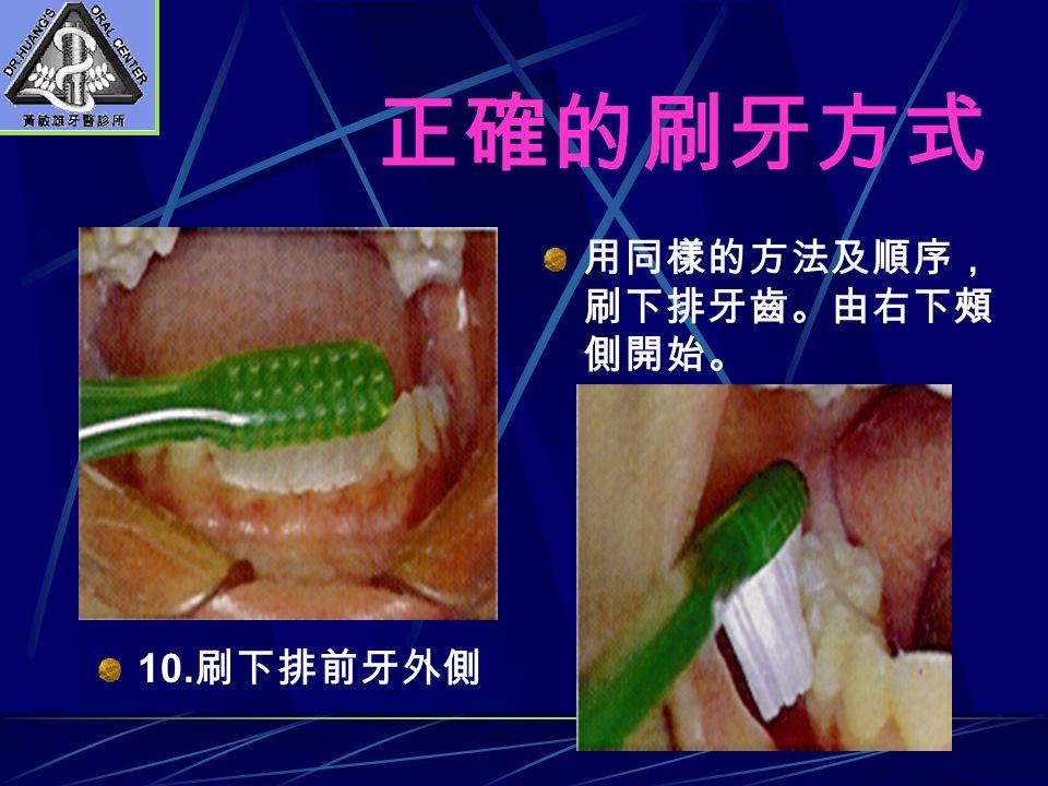 正確的刷牙方式 用同樣的方法及順序, 刷下排牙齒。由右下頰 側開始。 10. 刷下排前牙外側