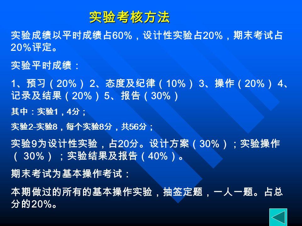 实验考核方法 实验成绩以平时成绩占 60% ,设计性实验占 20% ,期末考试占 20% 评定。 实验平时成绩: 1 、预习( 20% ) 2 、态度及纪律( 10% ) 3 、操作( 20% ) 4 、 记录及结果( 20% ) 5 、报告( 30% ) 其中:实验 1 , 4 分; 实验 2- 实验 8 ,每个实验 8 分,共 56 分; 实验 9 为设计性实验,占 20 分。设计方案( 30% );实验操作 ( 30% ) ;实验结果及报告( 40% )。 期末考试为基本操作考试: 本期做过的所有的基本操作实验,抽签定题,一人一题。占总 分的 20% 。