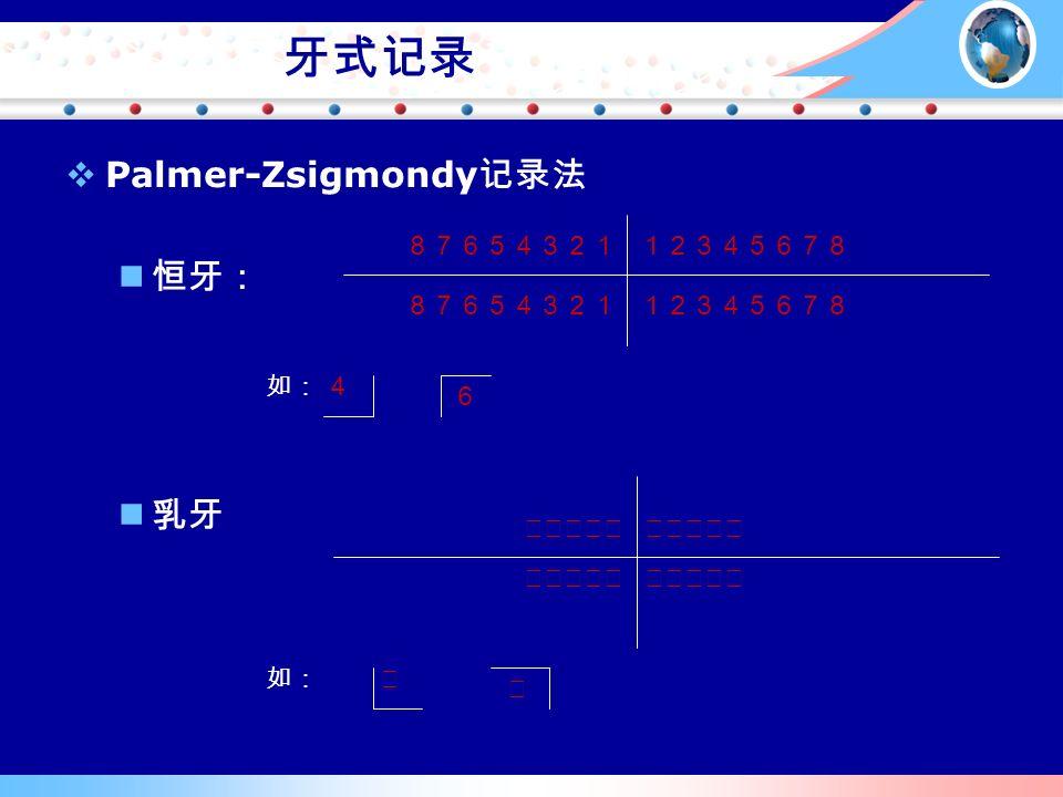 牙式记录 12345678 87654321 如:4 6 ⅤⅣⅢⅡⅠⅠⅡⅢⅣⅤ ⅤⅣⅢⅡⅠ 如:Ⅲ Ⅴ  Palmer-Zsigmondy 记录法 恒牙: 乳牙