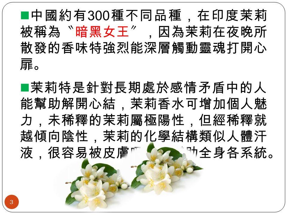 中國約有 300 種不同品種,在印度茉莉 被稱為〝暗黑女王〞,因為茉莉在夜晚所 散發的香味特強烈能深層觸動靈魂打開心 扉。 茉莉特是針對長期處於感情矛盾中的人 能幫助解開心結,茉莉香水可增加個人魅 力,未稀釋的茉莉屬極陽性,但經稀釋就 越傾向陰性,茉莉的化學結構類似人體汗 液,很容易被皮膚吸收能幫助全身各系統。 3