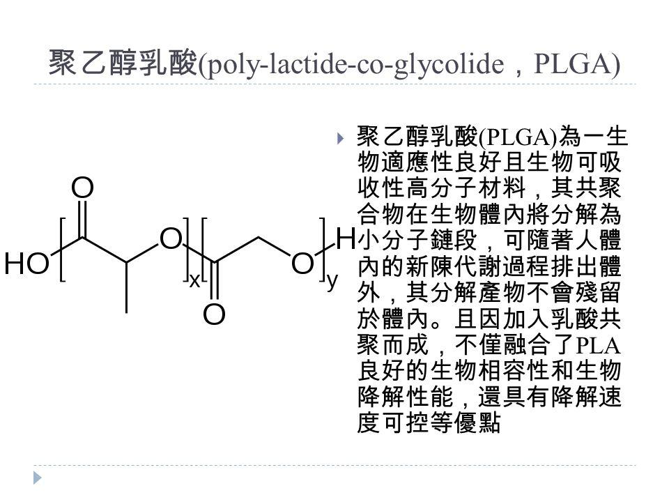 聚乙醇乳酸 (poly-lactide-co-glycolide , PLGA)  聚乙醇乳酸 (PLGA) 為一生 物適應性良好且生物可吸 收性高分子材料,其共聚 合物在生物體內將分解為 小分子鏈段,可隨著人體 內的新陳代謝過程排出體 外,其分解產物不會殘留 於體內。且因加入乳酸共 聚而成,不僅融合了 PLA 良好的生物相容性和生物 降解性能,還具有降解速 度可控等優點