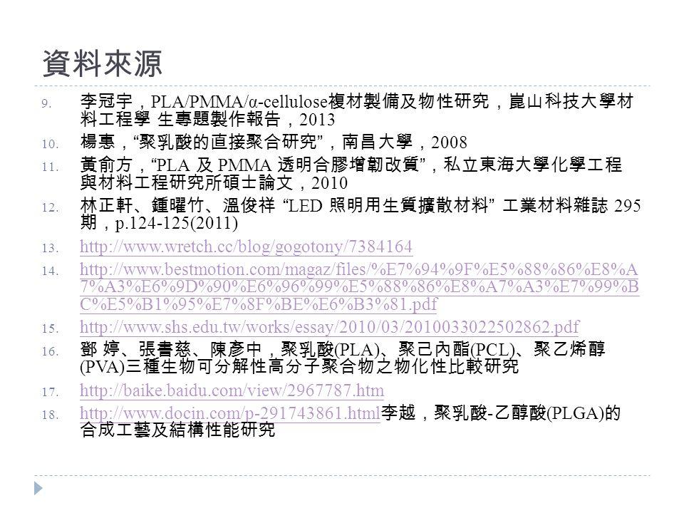 資料來源 9. 李冠宇, PLA/PMMA/α-cellulose 複材製備及物性研究,崑山科技大學材 料工程學 生專題製作報告, 2013 10.