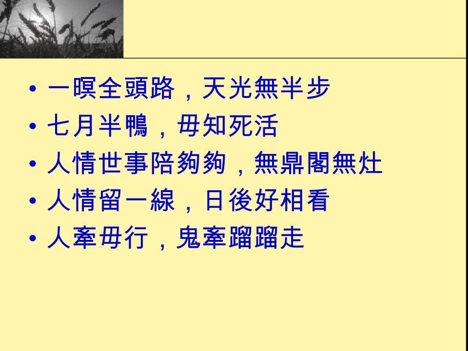 一暝全頭路,天光無半步 七月半鴨,毋知死活 人情世事陪夠夠,無鼎閣無灶 人情留一線,日後好相看 人牽毋行,鬼牽蹓蹓走