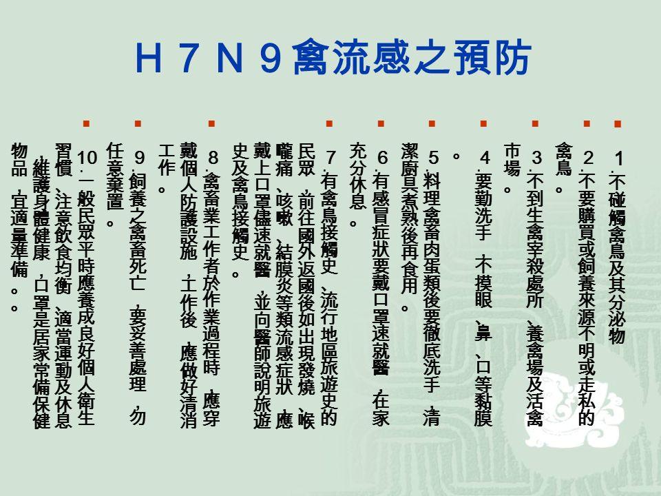 H7N9禽流感之預防