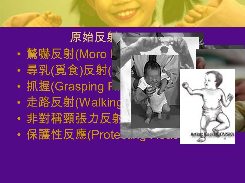 驚嚇反射 (Moro R.) 尋乳 ( 覓食 ) 反射 (Rooting R.) 抓握 (Grasping R.) 走路反射 (Walking R.) 非對稱頸張力反射 (A.T.N.R) 保護性反應 (Protecting Reaction) 原始反射 (Reflex)