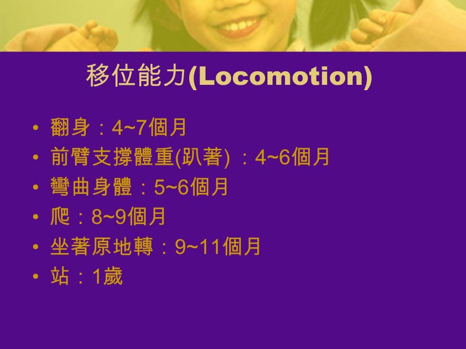 移位能力 (Locomotion) 翻身: 4~7 個月 前臂支撐體重 ( 趴著 ) : 4~6 個月 彎曲身體: 5~6 個月 爬: 8~9 個月 坐著原地轉: 9~11 個月 站: 1 歲