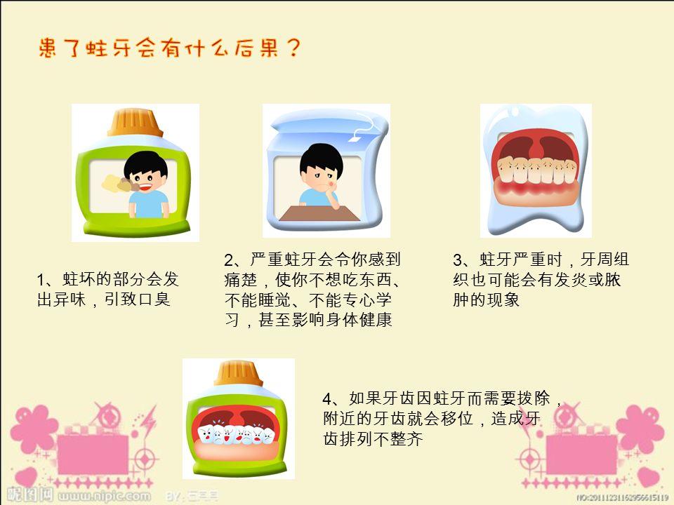 1 、蛀坏的部分会发 出异味,引致口臭 2 、严重蛀牙会令你感到 痛楚,使你不想吃东西、 不能睡觉、不能专心学 习,甚至影响身体健康 3 、蛀牙严重时,牙周组 织也可能会有发炎或脓 肿的现象 4 、如果牙齿因蛀牙而需要拨除, 附近的牙齿就会移位,造成牙 齿排列不整齐