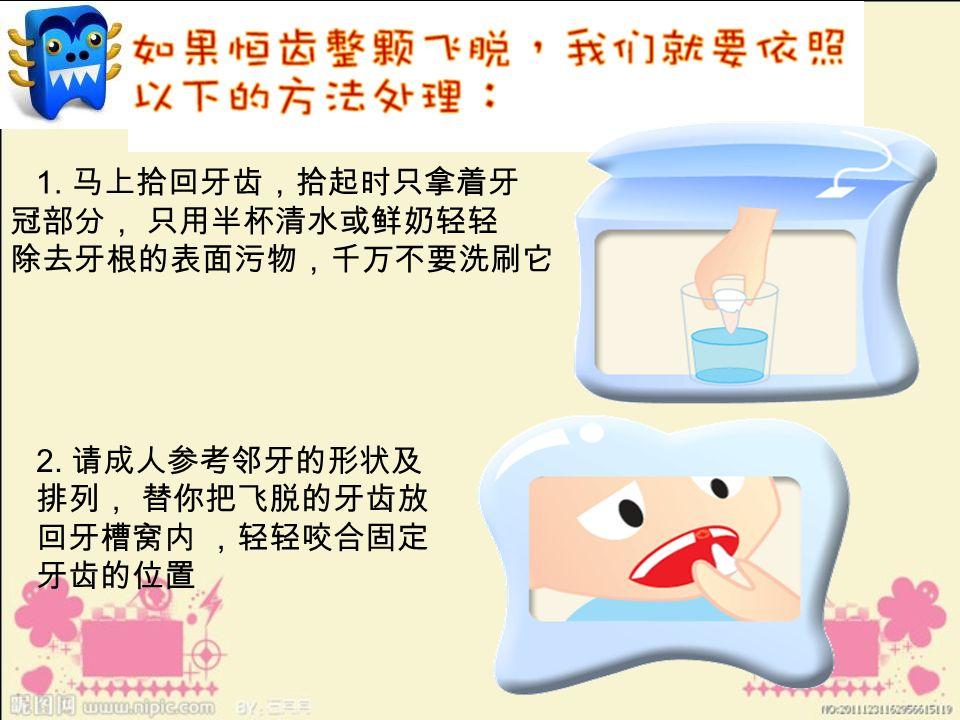 1. 马上拾回牙齿,拾起时只拿着牙 冠部分, 只用半杯清水或鲜奶轻轻 除去牙根的表面污物,千万不要洗刷它 2.