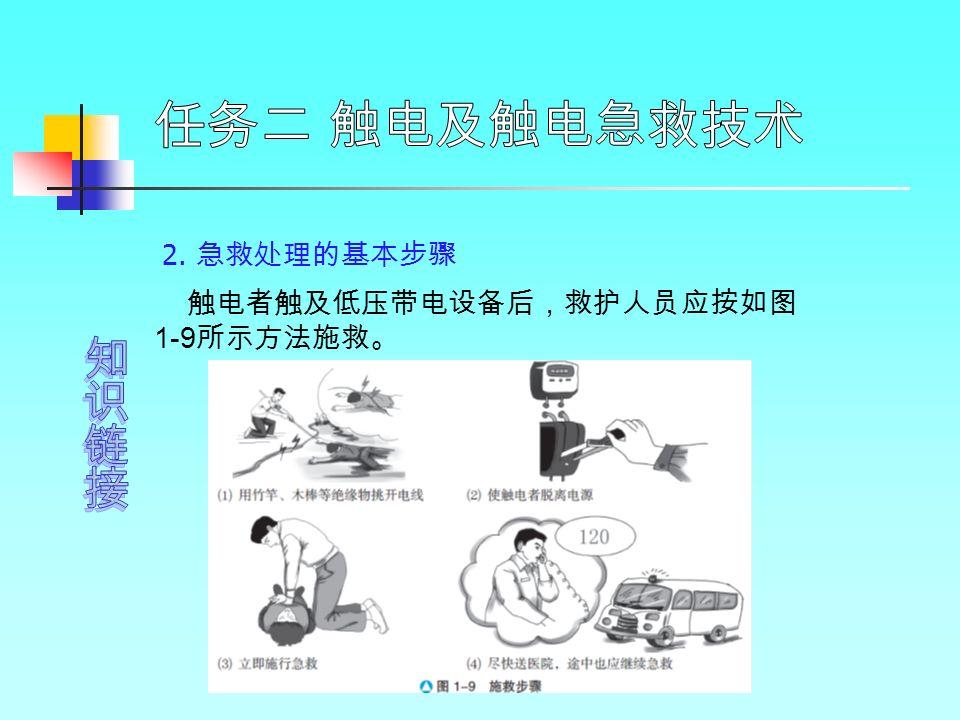 2. 急救处理的基本步骤 触电者触及低压带电设备后,救护人员应按如图 1-9 所示方法施救。