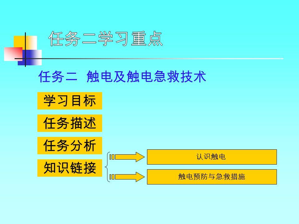 学习目标 任务描述 任务分析 知识链接 任务二 触电及触电急救技术 认识触电 触电预防与急救措施