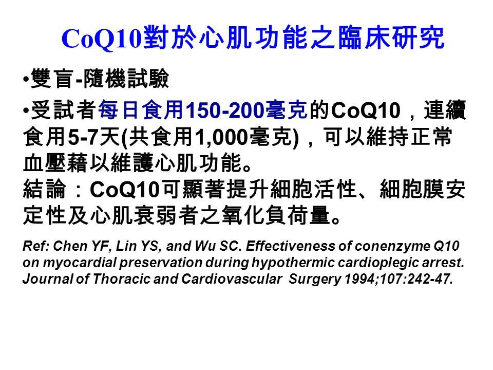 CoQ10 對於心肌功能之臨床研究 雙盲 - 隨機試驗 受試者每日食用 150-200 毫克的 CoQ10 ,連續 食用 5-7 天 ( 共食用 1,000 毫克 ) ,可以維持正常 血壓藉以維護心肌功能。 結論: CoQ10 可顯著提升細胞活性、細胞膜安 定性及心肌衰弱者之氧化負荷量。 Ref: Chen YF, Lin YS, and Wu SC.