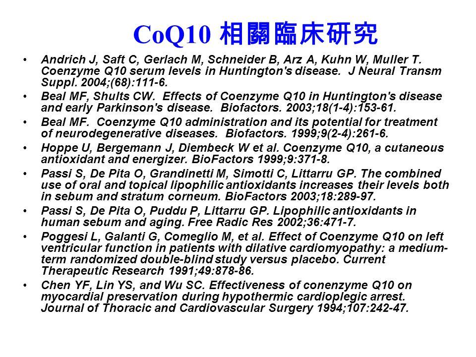CoQ10 相關臨床研究 Andrich J, Saft C, Gerlach M, Schneider B, Arz A, Kuhn W, Muller T.