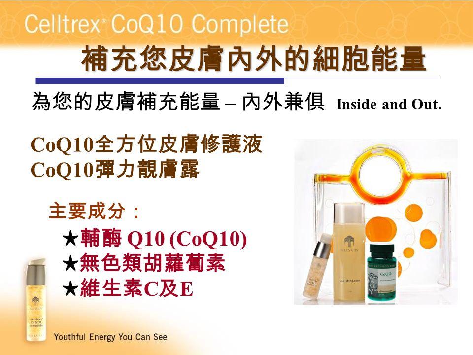 主要成分: ★輔酶 Q10 (CoQ10) ★無色類胡蘿蔔素 ★維生素 C 及 E CoQ10 全方位皮膚修護液 CoQ10 彈力靚膚露 補充您皮膚內外的細胞能量 為您的皮膚補充能量 – 內外兼俱 Inside and Out.