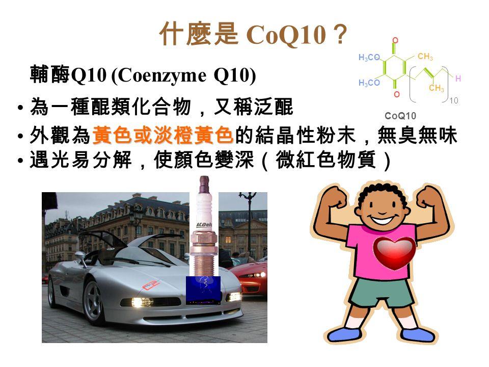 什麼是 CoQ10 ? 輔酶 Q10 (Coenzyme Q10) 為一種醌類化合物,又稱泛醌 黃色或淡橙黃色 外觀為黃色或淡橙黃色的結晶性粉末,無臭無味 遇光易分解,使顏色變深(微紅色物質) O H 3 CO CoQ10 H 3 CO CH 3 O H 10