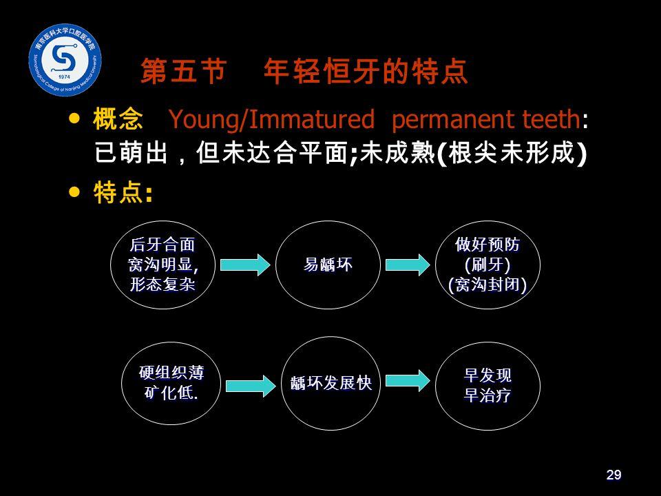 第五节 年轻恒牙的特点 概念 Young/Immatured permanent teeth: 已萌出,但未达合平面 ; 未成熟 ( 根尖未形成 ) 特点 : 后牙合面 窝沟明显, 形态复杂易龋坏 硬组织薄 矿化低.