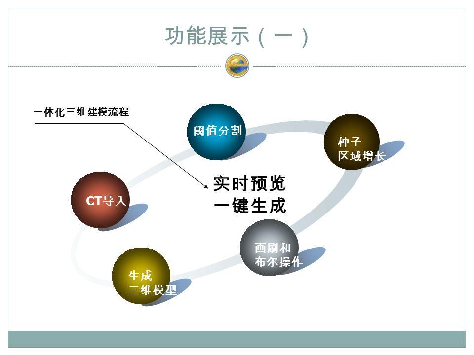 功能展示(一) CT 导入 阈值分割 种子 区域增长 画刷和 布尔操作 生成 三维模型 实时预览 一键生成 一体化三维建模流程