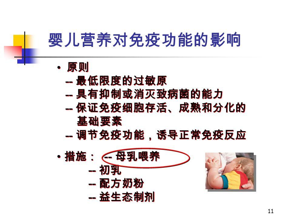 11 措施: -- 母乳喂养 -- 初乳 -- 配方奶粉 -- 益生态制剂 措施: -- 母乳喂养 -- 初乳 -- 配方奶粉 -- 益生态制剂 原则 -- 最低限度的过敏原 -- 具有抑制或消灭致病菌的能力 -- 保证免疫细胞存活、成熟和分化的 基础要素 -- 调节免疫功能,诱导正常免疫反应 原则 -- 最低限度的过敏原 -- 具有抑制或消灭致病菌的能力 -- 保证免疫细胞存活、成熟和分化的 基础要素 -- 调节免疫功能,诱导正常免疫反应 婴儿营养对免疫功能的影响