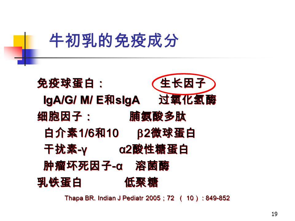 19 免疫球蛋白: 生长因子 IgA/G/ M/ E 和 sIgA 过氧化氢酶 细胞因子: 脯氨酸多肽 白介素 1/6 和 10  2 微球蛋白 干扰素 -γ α2 酸性糖蛋白 肿瘤坏死因子 -α 溶菌酶 乳铁蛋白 低聚糖 免疫球蛋白: 生长因子 IgA/G/ M/ E 和 sIgA 过氧化氢酶 细胞因子: 脯氨酸多肽 白介素 1/6 和 10  2 微球蛋白 干扰素 -γ α2 酸性糖蛋白 肿瘤坏死因子 -α 溶菌酶 乳铁蛋白 低聚糖 Thapa BR.