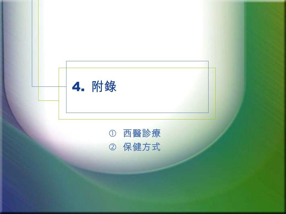 4. 附錄  西醫診療 ' 保健方式