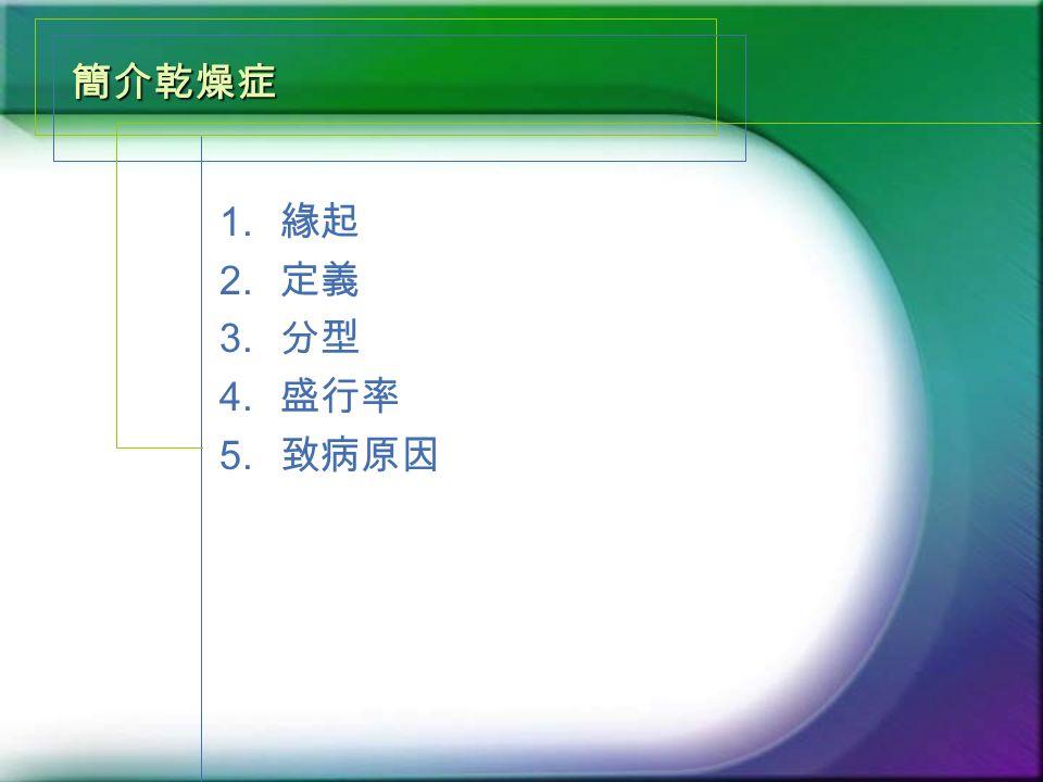 簡介乾燥症 1. 緣起 2. 定義 3. 分型 4. 盛行率 5. 致病原因