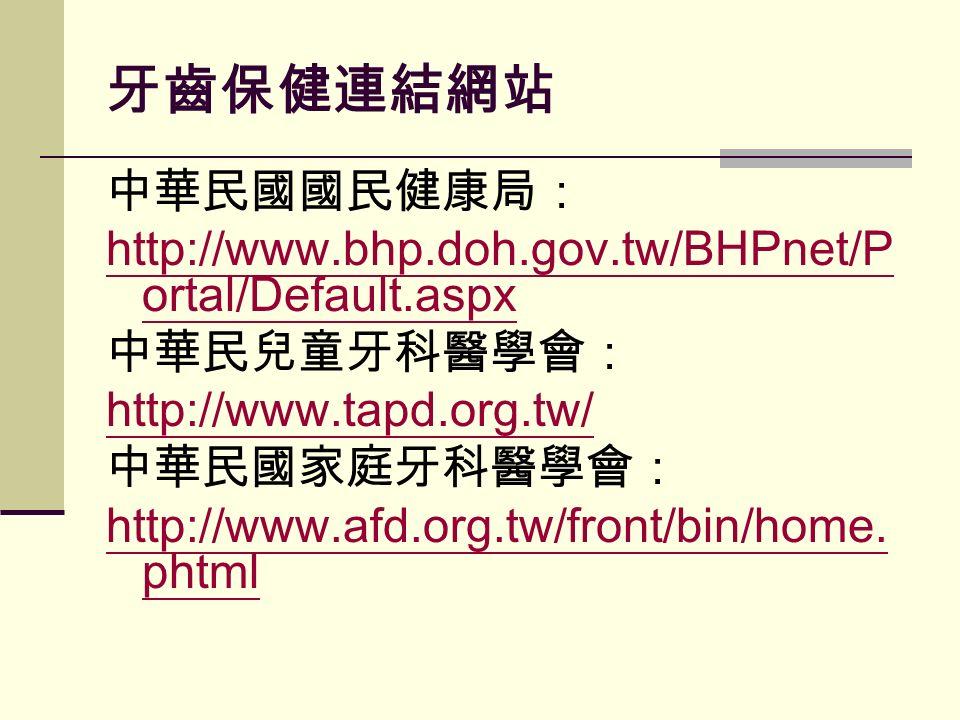 牙齒保健連結網站 中華民國國民健康局: http://www.bhp.doh.gov.tw/BHPnet/P ortal/Default.aspx 中華民兒童牙科醫學會: http://www.tapd.org.tw/ 中華民國家庭牙科醫學會: http://www.afd.org.tw/front/bin/home.