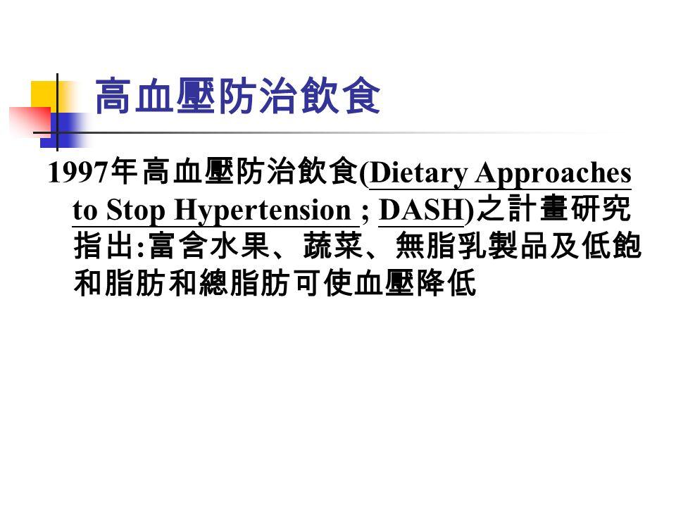 高血壓防治飲食 1997 年高血壓防治飲食 (Dietary Approaches to Stop Hypertension ; DASH) 之計畫研究 指出 : 富含水果、蔬菜、無脂乳製品及低飽 和脂肪和總脂肪可使血壓降低