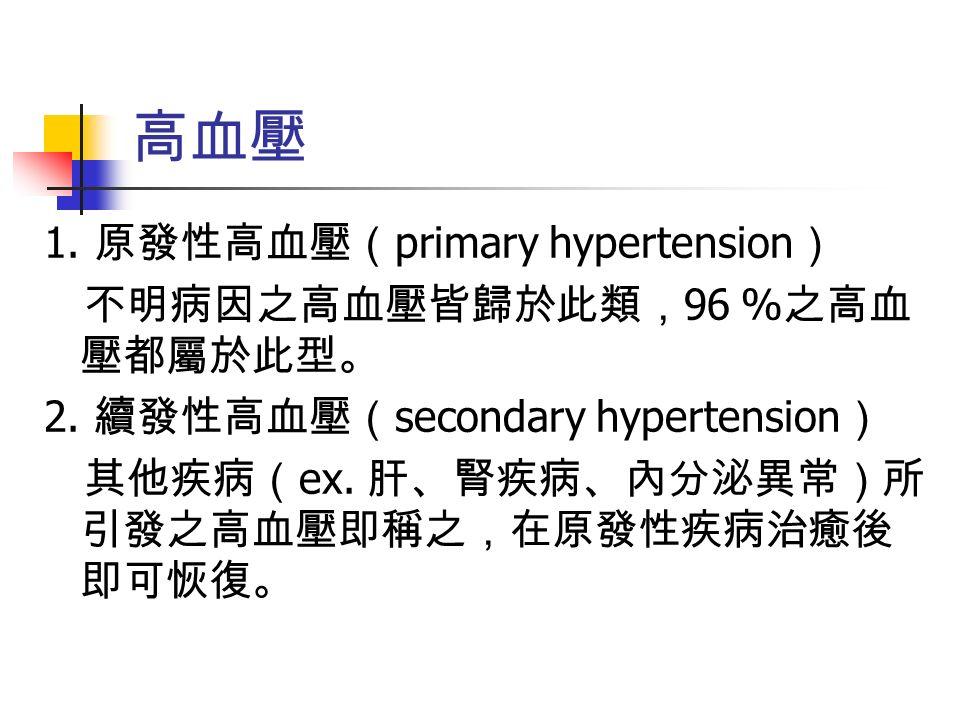 1. 原發性高血壓( primary hypertension ) 不明病因之高血壓皆歸於此類, 96 % 之高血 壓都屬於此型。 2.