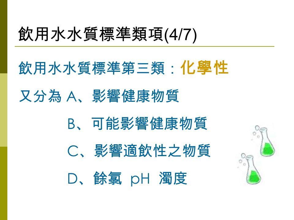 飲用水水質標準類項 (4/7) 飲用水水質標準第三類: 化學性 又分為 A 、影響健康物質 B 、可能影響健康物質 C 、影響適飲性之物質 D 、餘氯 pH 濁度