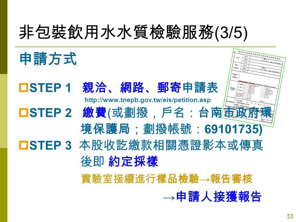 33 非包裝飲用水水質檢驗服務 (3/5) 申請方式  STEP 1 親洽、網路、郵寄申請表 http://www.tnepb.gov.tw/eis/petition.asp  STEP 2 繳費 ( 或劃撥,戶名:台南市政府環 境保護局;劃撥帳號: 69101735)  STEP 3 本股收訖繳款相關憑證影本或傳真 後即 約定採樣 實驗室接續進行樣品檢驗 → 報告審核 → 申請人接獲報告